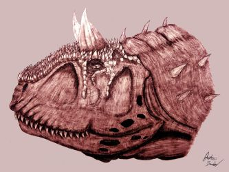 Carnotaurus head (commission) by jbconcepts87