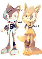 AQUA The Otter and MINNIE The Fox REDESIGNS by QuiickyFoxy