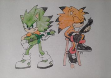 Cactus and Alex playing guitar by DashKnife-edge