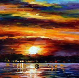 Distant Coast by Leonid Afremov by Leonidafremov