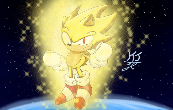 Golden Hedgehog in Space by KuraiJinx