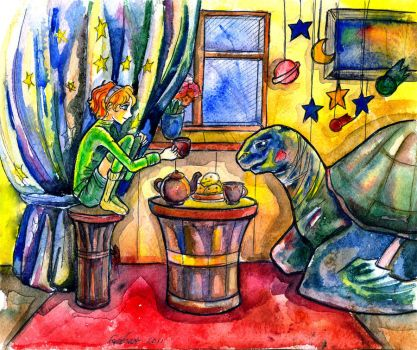 Evening tea and turtle by zoiocen