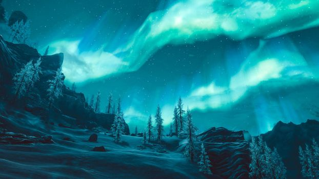 Northern lights - Skyrim by WatchTheSkies45