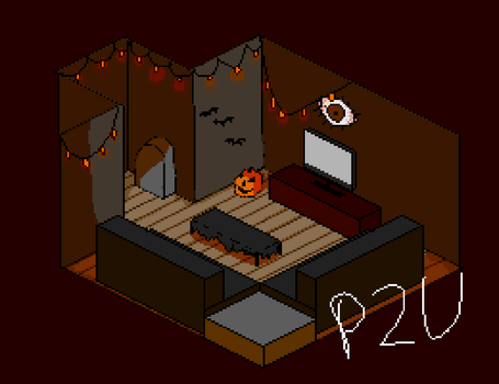 p2u isometric halloween room by desertcoyotee