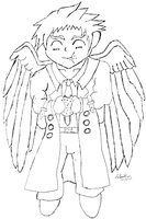 Cas the angel who loves burgers by LinaLeonheart