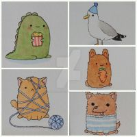 Five adorable watercolour greeting cards