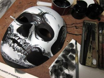 ghouled up a blank mask for halloween by cadaverperception