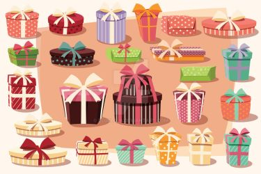 Collection of 24 gift boxes - vector by BlueLela