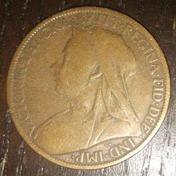 1901 Victorian British one penny coin (side B) by AdrenalineRush1996