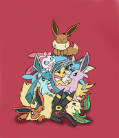 Eeveelutions - One big happy family by JessieDrawz