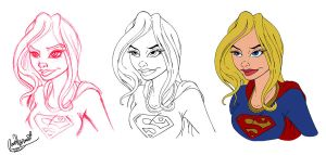 Supergirl Bust Progress by Anamated