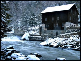 Snow at the Mill 1 by darkenrahl