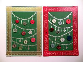 Christmas Cards with Button Ornaments by LoVeras