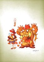 Little Bowser attacks Mario by Themrock