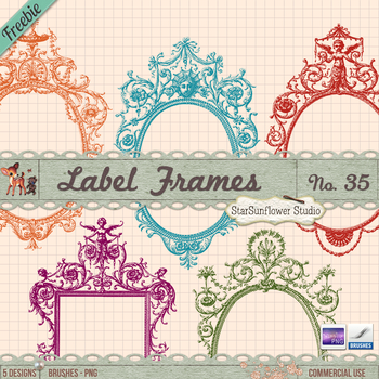 Free Vintage Frames Brushes and Clipart II by starsunflowerstudio