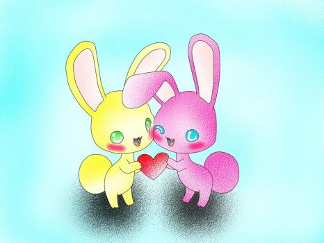 Para mi usagi, dos conejitos kawaii by darktailsdoll2