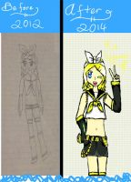 Before and after: Rin Kagamine by Melomiku