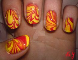 Water Marble Nail Design by AnyRainbow