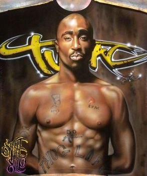 2Pac Airbrush T-Shirt by PrimoOne