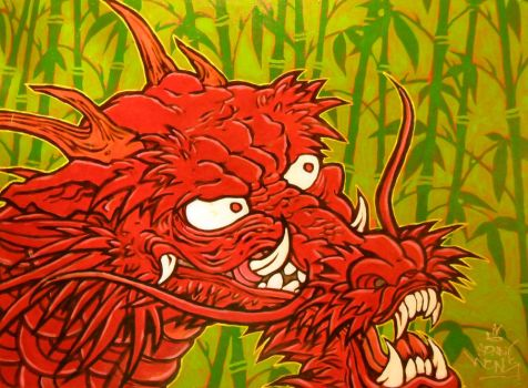 Red Dragon on Bamboo by sonnywong001