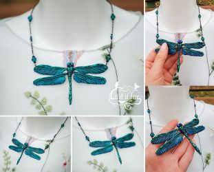 Dragonfly Necklace Green/Blue by LilifIlane