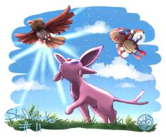 Espeon, Spearow and Ledian.