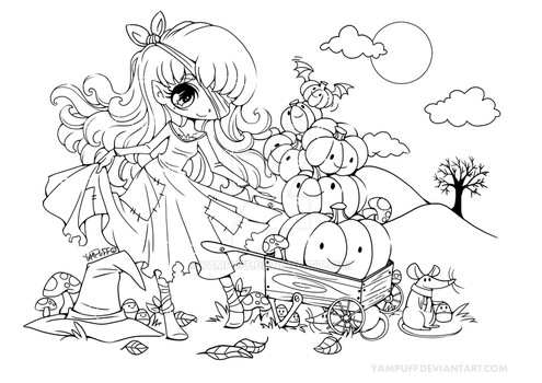 Halloween Pumpkin Princess Lineart by YamPuff