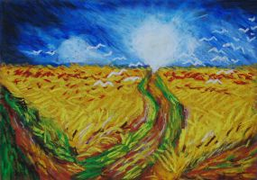 Wheatfield with Doves by davepuls