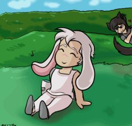 Blissful Bunny and Pining Wolf by Mel-Meiko-Mei-Ling