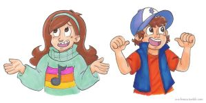 Mabel and Dipper by batteryfish