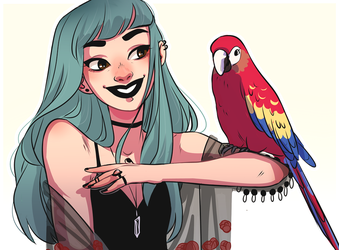 April and the macaw by HetteMaudit