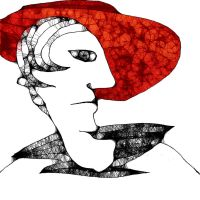 Woman with red hat by Aspartam