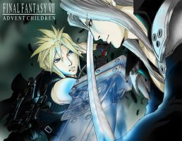Cloud vs Sephiroth by quembot