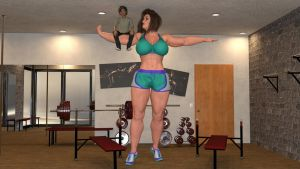 Mini Giantess Muscular Mom and her tiny son by Big-ELSA