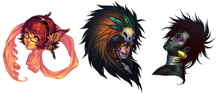 Gaia bribe headshots by Pirate-Cashoo