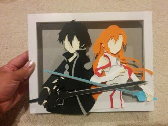 kirito and asuna SAO papercut by smallrinilady