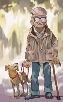 Old man and his dog by mendigo-amigo