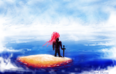 Knight waiting patiently on island by aperson4321