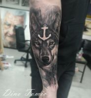 Wolf Tattoo done today by AtomiccircuS