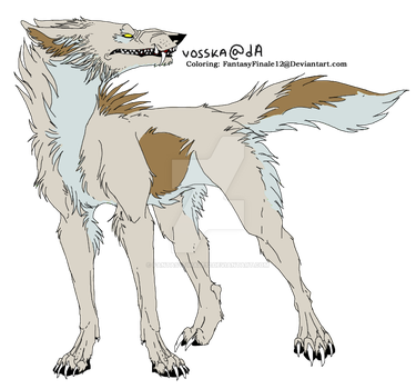 Wolf Lineart Coloring (Gypsum) by FantasyFinale12