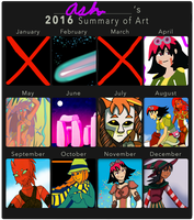 2016 Art Calender thing I do every year by RedVioletPanda