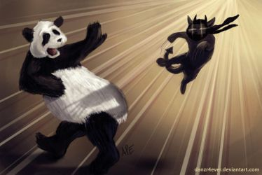 Innocent Panda vs Assassin Cat by danzr4ever