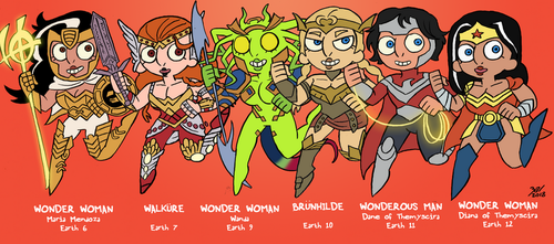 Wonder Women of the Multiverse: Earths 6 - 12 by Zal001