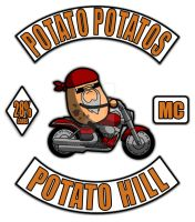 Potato Potatos MC - 3 Piece Motorcycle Club Patch by raveka
