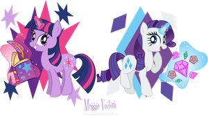 MLP: FIM -Twilight Sparkle and Rarity by MeganLovesAngryBirds