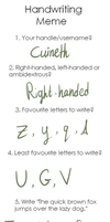 Handwriting meme by Cuineth