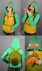 TMNT Michelangelo Hoodie with Shell Backpack by SewDesuNe