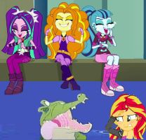 Sunset Shimmer PWNed by TickTockCroc