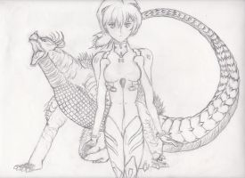 Rei and Anguirus Sketch by BurningG-HellOnEarth