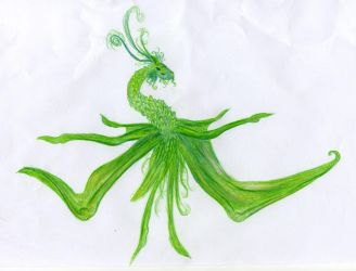 Green dragonlike staff by Random223